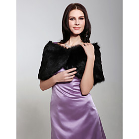 Fur Wraps Shrugs Sleeveless Faux Fur Black Wedding / Party/Evening