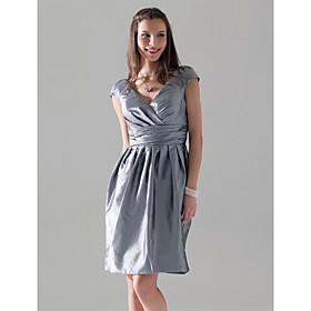 Sheath / Column V-neck Knee Length Taffeta Bridesmaid Dress with Draping Criss Cross by LAN TING BRIDE plus size,  plus size fashion plus size appare