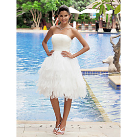 A-Line Strapless Knee Length Organza Satin Wedding Dress with Tiered by LAN TING BRIDE plus size,  plus size fashion plus size appare