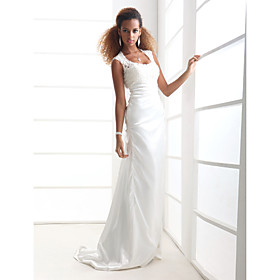 Sheath / Column Scoop Neck Sweep / Brush Train Charmeuse Wedding Dress with Appliques by LAN TING BRIDE plus size,  plus size fashion plus size appare