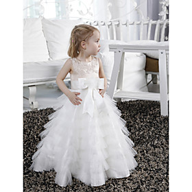 A-Line Princess Floor Length Flower Girl Dress - Satin Tulle Sleeveless Jewel Neck with Beading Appliques Bow(s) Sash / Ribbon by LAN