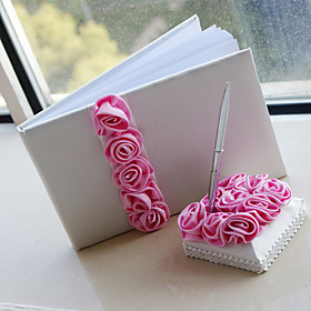 Luxury Wedding Guest Book and Pen Set With Pink Roses Sign In Book Coral Wed..