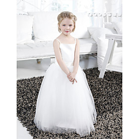 LAN TING BRIDE Ball Gown Floor-length Flower Girl Dress - Satin Tulle Spaghetti Straps with Draping Sash / Ribbon Ruffles