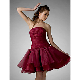 A-Line Ball Gown Princess Strapless Knee Length Organza Cocktail Party Prom Holiday Sweet 16 Dress with Draping Ruching by TS Couture plus size,  plus size fashion plus size appare