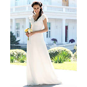 Mermaid / Trumpet V-neck Floor Length Chiffon Wedding Dress with Ruche by LAN TING BRIDE plus size,  plus size fashion plus size appare
