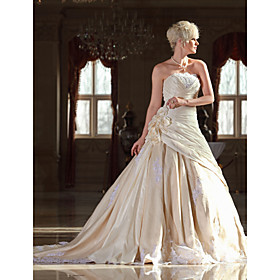 Lanting Bride A-line Petite Plus Sizes Wedding Dress Vintage Inspired Cathedral Train Strapless Lace Taffeta withAppliques Beading plus size,  plus size fashion plus size appare