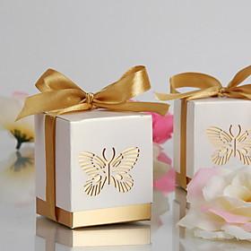 Gold Laser-cut Butterfly Favor Box(Set of 12)