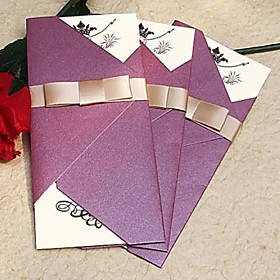 Vintage Sparkling Purple Wedding Invitation With Gold Ribbon (Set of 60)