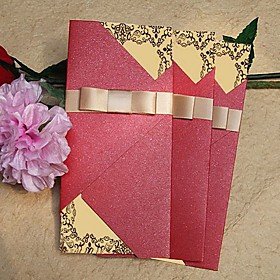 Vintage Sparkling Red Wedding Invitation With Gold Ribbon (Set of 60)