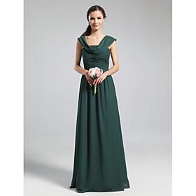 LAN TING BRIDE Floor-length Cowl Bridesmaid Dress - Elegant Sleeveless Chiffon
