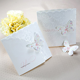 Sample Spring Butterfly Tri-fold Wedding Invitation (One Set)