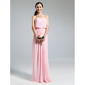 Sheath / Column Strapless Floor Length Chiffon Bridesmaid Dress with Pleats by LAN TING BRIDE plus size,  plus size fashion plus size appare