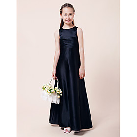 Lanting Bride Floor-length Satin Junior Bridesmaid Dress A-line / Princess Jewel Natural with Draping / Ruching