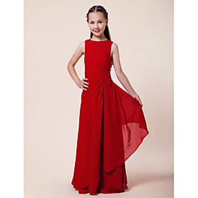 A-Line Sheath / Column Bateau Neck Floor Length Chiffon Junior Bridesmaid Dress with Beading Side Draping by LAN TING BRIDE