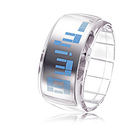 Unisex Futuristic Blue LED Digital White Band Bracelet Watch