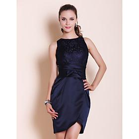 TS Couture Cocktail Party / Wedding Party Dress - Short Plus Size / Petite Sheath / Column Bateau Short / Mini Lace / Satin withBow(s) / Lace plus size,  plus size fashion plus size appare