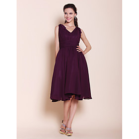 A-Line Princess V Neck Knee Length Chiffon Bridesmaid Dress with Bow(s) Draping Ruching by LAN TING BRIDE plus size,  plus size fashion plus size appare