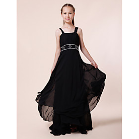 Sheath / Column Straps Floor Length Chiffon Junior Bridesmaid Dress with Beading Draping by LAN TING BRIDE