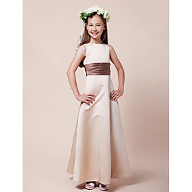 A-Line Princess Bateau Neck Floor Length Satin Junior Bridesmaid Dress with Sash / Ribbon Ruching by LAN TING BRIDE