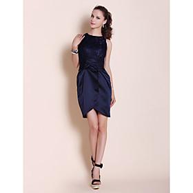Sheath / Column Bateau Neck Short / Mini Lace Party Dress by TS Couture plus size,  plus size fashion plus size appare