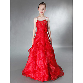 A-Line Princess Spaghetti Straps Floor Length Organza Satin Junior Bridesmaid Dress withBeading Flower(s) Side Draping Ruffles Cascading