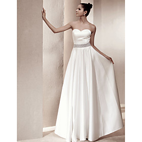 A-Line Sweetheart Floor Length Satin Wedding Dress with Beading by LAN TING BRIDE plus size,  plus size fashion plus size appare