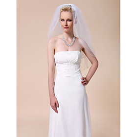 Two-tier Elbow Wedding Veils With Pencil Edge