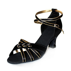 Black Satin Upper With Gold Trim Latin Dance Shoes Ballroom Practice Shoes for Women