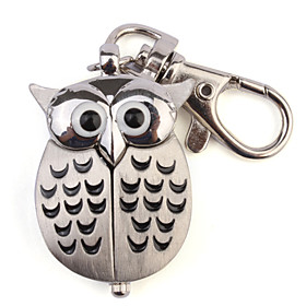 Unisex Lovely Owl Style Stainless Steel Case Analog Keychain Watch