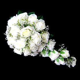 Wedding Flowers Cascade Lilies Bouquets Wedding Party/ Evening Satin Pink White Orange