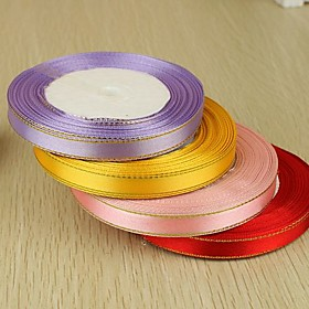 2/5-Inch Gold-edged Satin Ribbon