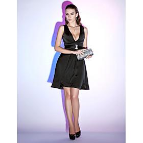 TS Couture Cocktail Party Holiday Dress - Little Black Dress A-line Princess V-neck Short / Mini Chiffon withDraping Sash / Ribbon plus size,  plus size fashion plus size appare