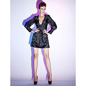 TS Couture Cocktail Party Holiday Dress - Celebrity Style Little Black Dress Sheath / Column V-neck Short / Mini Stretch Satin withSide plus size,  plus size fashion plus size appare