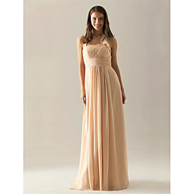 LAN TING BRIDE Floor-length Chiffon Bridesmaid Dress - A-line Halter Plus Size / Petite plus size,  plus size fashion plus size appare
