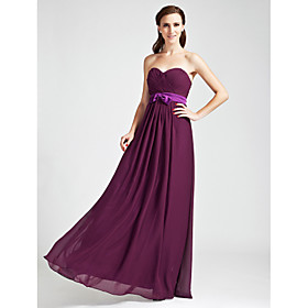 LAN TING BRIDE Floor-length Strapless Sweetheart Bridesmaid Dress - Open Back Sleeveless Chiffon plus size,  plus size fashion plus size appare