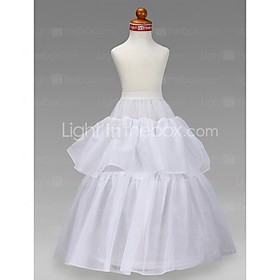 Slips A-Line Slip Ball Gown Slip Floor-length 2 Tulle Netting Taffeta White plus size,  plus size fashion plus size appare