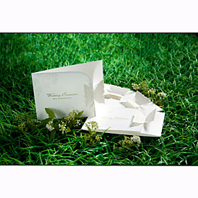 Elegant Tri-fold Wedding Invitation With Laser-cut Butterfly (Set of 50)