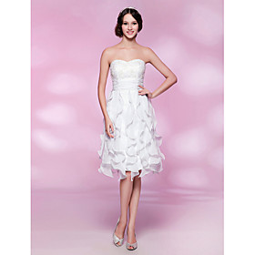 TS Couture Cocktail Party Graduation Wedding Party Dress - Short A-line Princess Strapless Sweetheart Knee-length Chiffon Lace with plus size,  plus size fashion plus size appare