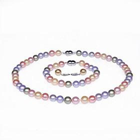 enkele streng AA parel ketting, armband en oorbellen set (meer kleuren)