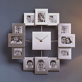 Silver Photo Frame Mute Wall Clock