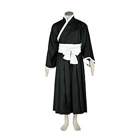Image of Inspired by Cosplay Cosplay Anime Cosplay Costumes Cosplay Suits / Kimono Patchwork Black Long Sleeve Kimono Coat / Hakama pants / Belt