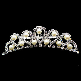 Rhinestones With Imitation Pearl Wedding Bridal Tiara/ Headpiece