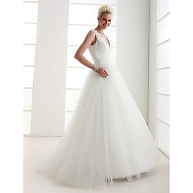A-Line Princess V Neck Floor Length Tulle Custom Wedding Dresses with Beading Criss-Cross by LAN TING BRIDE plus size,  plus size fashion plus size appare