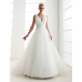 Lanting Bride Princess Petite / Plus Sizes Wedding Dress - Classic Timeless Vintage Inspired Floor-length V-neck Tulle with Lace plus size,  plus size fashion plus size appare