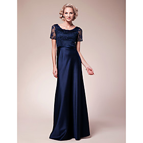 Sheath / Column Scoop Neck Floor Length Lace Satin Mother of the Bride Dress with Beading Lace by LAN TING BRIDE plus size,  plus size fashion plus size appare