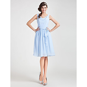 A-Line Princess Cowl Neck Knee Length Chiffon Bridesmaid Dress with Draping Sash / Ribbon Ruching Crystal Brooch by LAN TING BRIDE