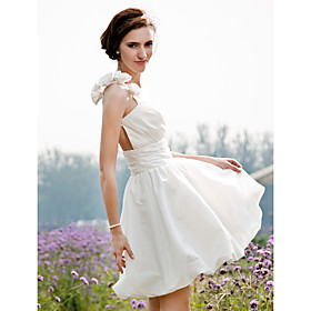 A-Line Princess One Shoulder Short / Mini Taffeta Wedding Dress with Flower Ruche Side-Draped by LAN TING BRIDE plus size,  plus size fashion plus size appare