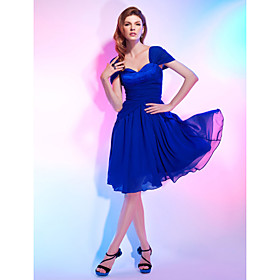 A-Line Princess Sweetheart Off-the-shoulder Knee Length Chiffon Cocktail Party Dress with Draping by TS Couture plus size,  plus size fashion plus size appare