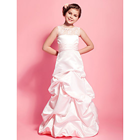 A-Line Princess Scoop Neck Floor Length Satin Junior Bridesmaid Dress with Ruching by LAN TING BRIDE
