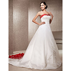 A-Line Princess Strapless Cathedral Train Satin Wedding Dress with Appliques Embroidered by LAN TING BRIDE plus size,  plus size fashion plus size appare